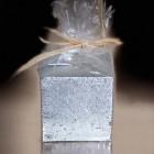 Bougie cadeau de table pailletée argent 5 cm