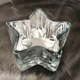 Photophore étoile métallisé argent 10 cm