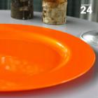Pack 24 assiettes orange. Recyclables - Réutilisables.