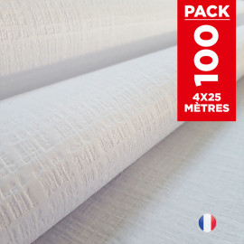Pack 4 Nappes blanches tendance lin 25 mètres.