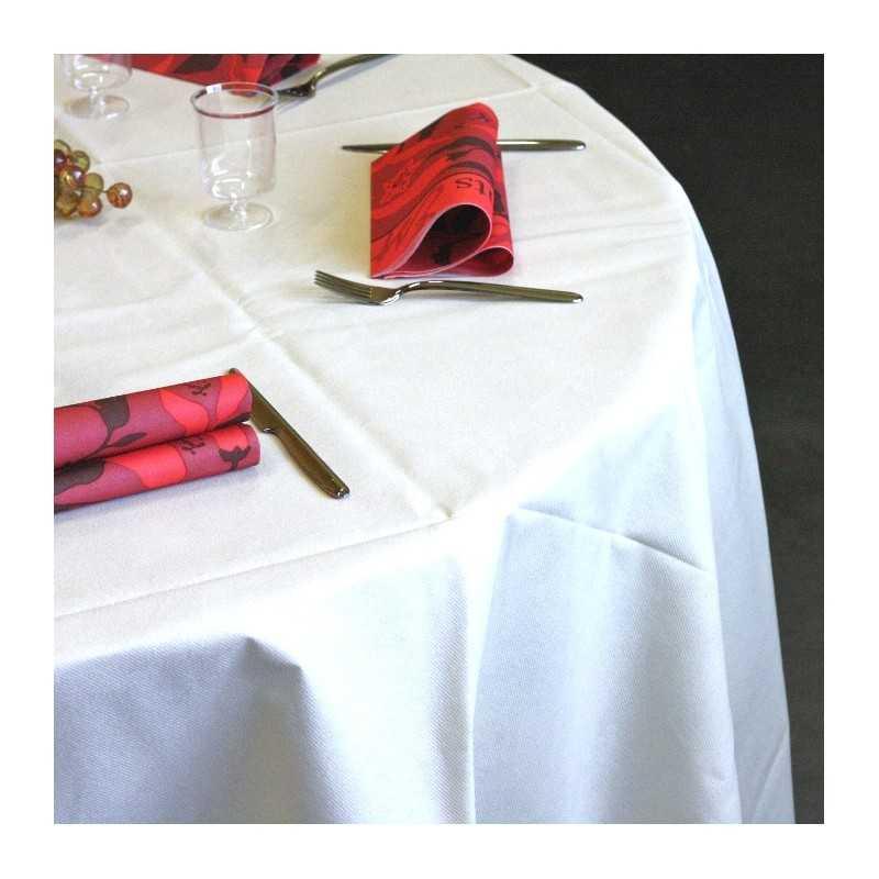 superbe nappe ronde 240 blanche 12 nappes en non tiss blanche ronde hoze home. Black Bedroom Furniture Sets. Home Design Ideas