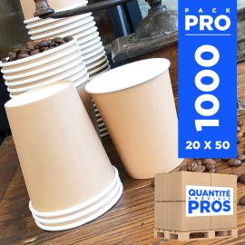1000 Gobelets carton Kraft Recyclables 24 cl