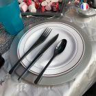 96 Assiettes luxe 19 cm Recyclables réutilisables Gris argent