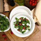 500 Assiettes rondes 23cm Fibre biodégradable blanche