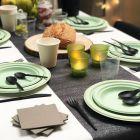 300 Assiettes rondes 23cm Fibre biodégradable vert macaron