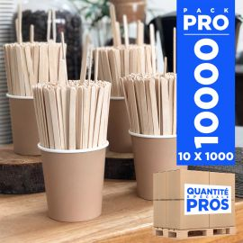 10 x 1000 Agitateurs 14 cm Bois naturel