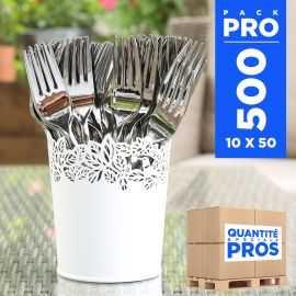 500 Fourchettes type inox. Recyclables - réutilisables