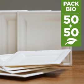 Pack 100 Assiettes Fibres Biodégradables carrées 16 cm et 20 cm.