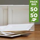 Pack 100 Assiettes Fibres Biodégradables carrées 16 et 20 cm