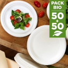 Pack 100 Assiettes fibres Biodégradables rondes 17 et 23 cm