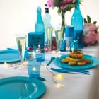 Assiette ronde turquoise. Recyclable - Réutilisable. Par 12