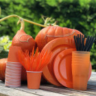 Set de 30 couverts orange. Recyclables - Réutilisables. 3x10