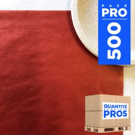 Sets de table papier kraft rouge. 30 cm x 40 cm. Par 500.