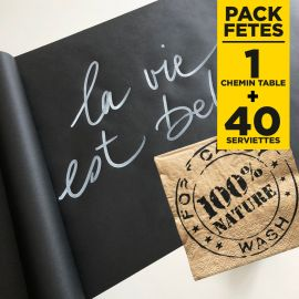 Pack chemin de table kraft + 40 Serviettes 100% nature