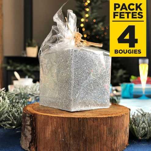 Pack 4 bougies cadeau de table pailletées argent