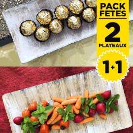 Pack 2 Plateaux bois tendances rectangulaires