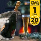 Pack 1 Seau à champagne + 20 flûtes cristal gratuites