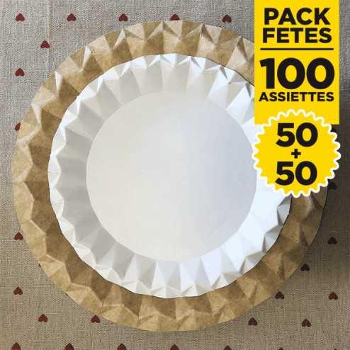 Pack 100 assiettes kraft et blanc design 23 et 18cm