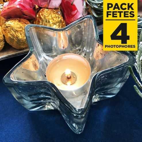 Pack 4 photophores etoile argent métallisé