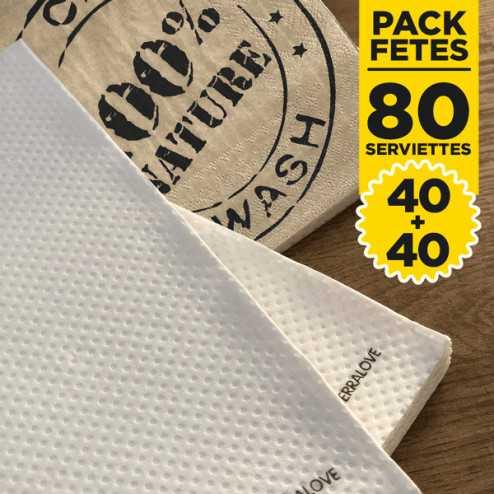 Pack 40 Serviettes Bio + 40 serviettes 100% nature
