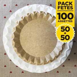 Pack 100 assiettes blanc et kraft design 23 et 18cm