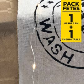 Pack nappe damassé kraft + chemin de table 100% nature