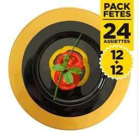 Pack 24 assiettes rondes luxe or et noires 24 et 19 cm
