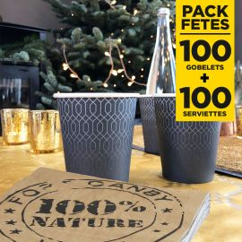 Pack 100 gobelets 21 cl + 100 serviettes 100% nature