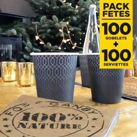 Pack 100 gobelets 21 cl + 100 serviettes 100% nature