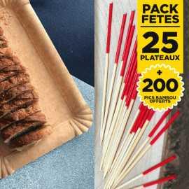 Pack 25 plateaux kraft 24x18 + 200 pics apéritifs gratuits