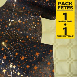 Pack 1 nappe damassé or + chemin de table étoiles
