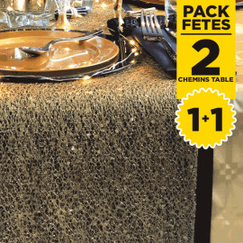 Pack 2 chemins de table glitter or + Kraft noir