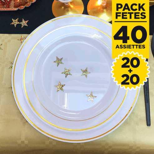 Pack 40 assiettes rondes liseré or 19 et 23cm