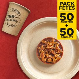 Pack 50 assiettes kraft 17cm + 50 gobelets 100% nature