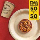 Pack 50 assiettes kraft 17cm + 50 gobelets 100% nature