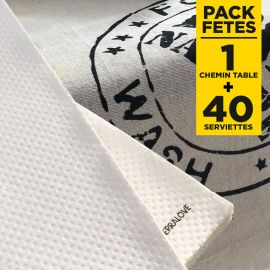 Pack chemin de table 100% nature + 40 serviettes bio blanches