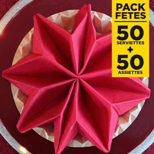 Pack 50 serviettes lin rouge + 50 assiettes kraft design 23cm