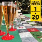 Pack chemin de table mosaïque + 20 flûtes à pieds rouges