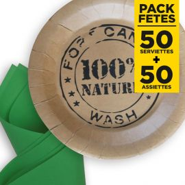 Pack 50 serviettes vertes + 50 assiettes 100% nature