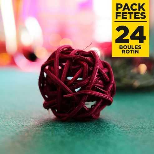 Pack 24 mini-boules rotin bordeaux