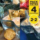 Pack 4 photophores étoiles or et argent métalisé
