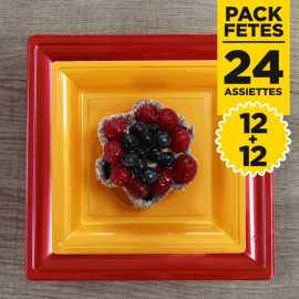 Pack 12 assiettes rouges 24cm + 12 assiettes or 18cm