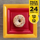 Pack 12 assiettes or 24cm + 12 assiettes carrées rouges 18cm