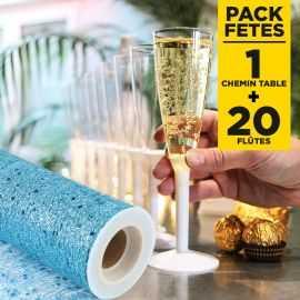 Pack chemin de table glitter turquoise + 20 flûtes à pieds blancs