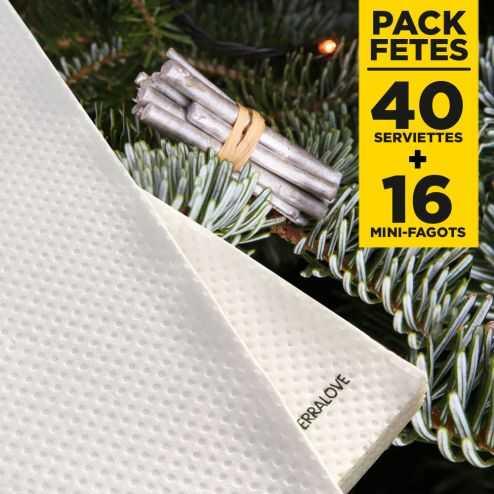 Pack 40 serviettes bio blanches + 16 mini-fagots bois argent