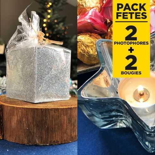 Pack 2 photophores argent + 2 bougies pailetées argent
