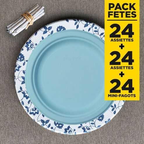 Pack 24 assiettes bio 26cm + 24 assiettes bio 23cm + 24 mini-fagots bois argent