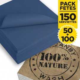 Pack 50 serviettes bleu + 100 serviettes 100% nature
