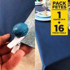 Pack nappe non-tissé bleu + 16 Pince-table macaron bleus