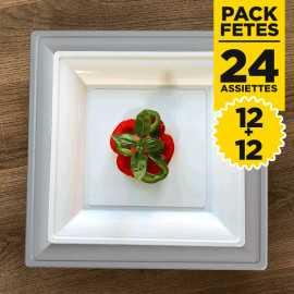 Pack 12 assiettes gris argent 24cm + 12 assiettes blanches 18cm